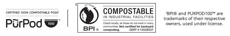 Certified 100% Compostable Pods