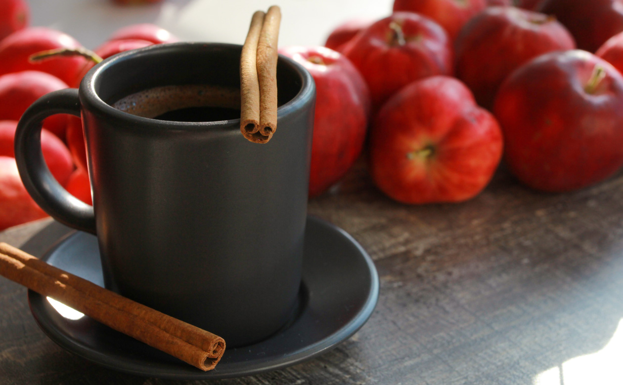 Apple cider and coffee make a sweet pair in this candy apple and Kauai Coffee Latte