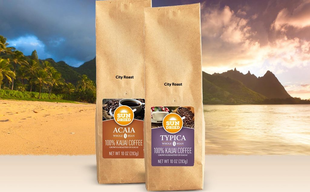 kauai coffee artisan roasted sun dried typica and sun dried acaia