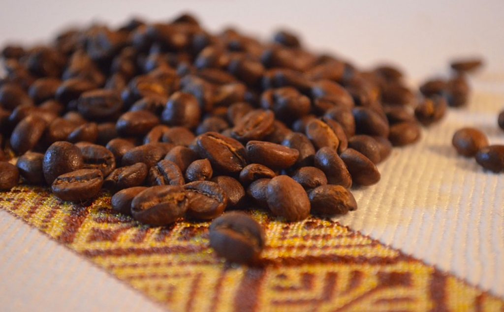 Ethiopian coffee on African patterned fabric