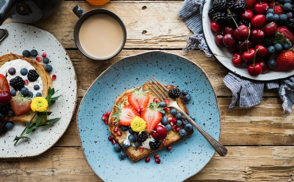 berry french toast and coffee