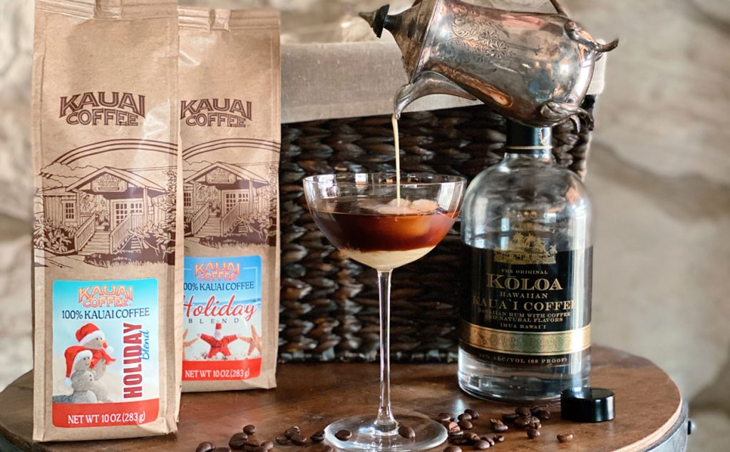 Kauai coffee and Koloa Rum made with Kauai coffee