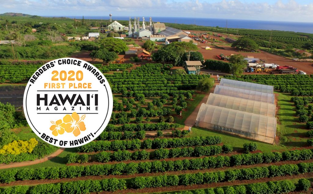aerial view of Kauai Coffee farm and visitor center with Hawaii Magazine seal