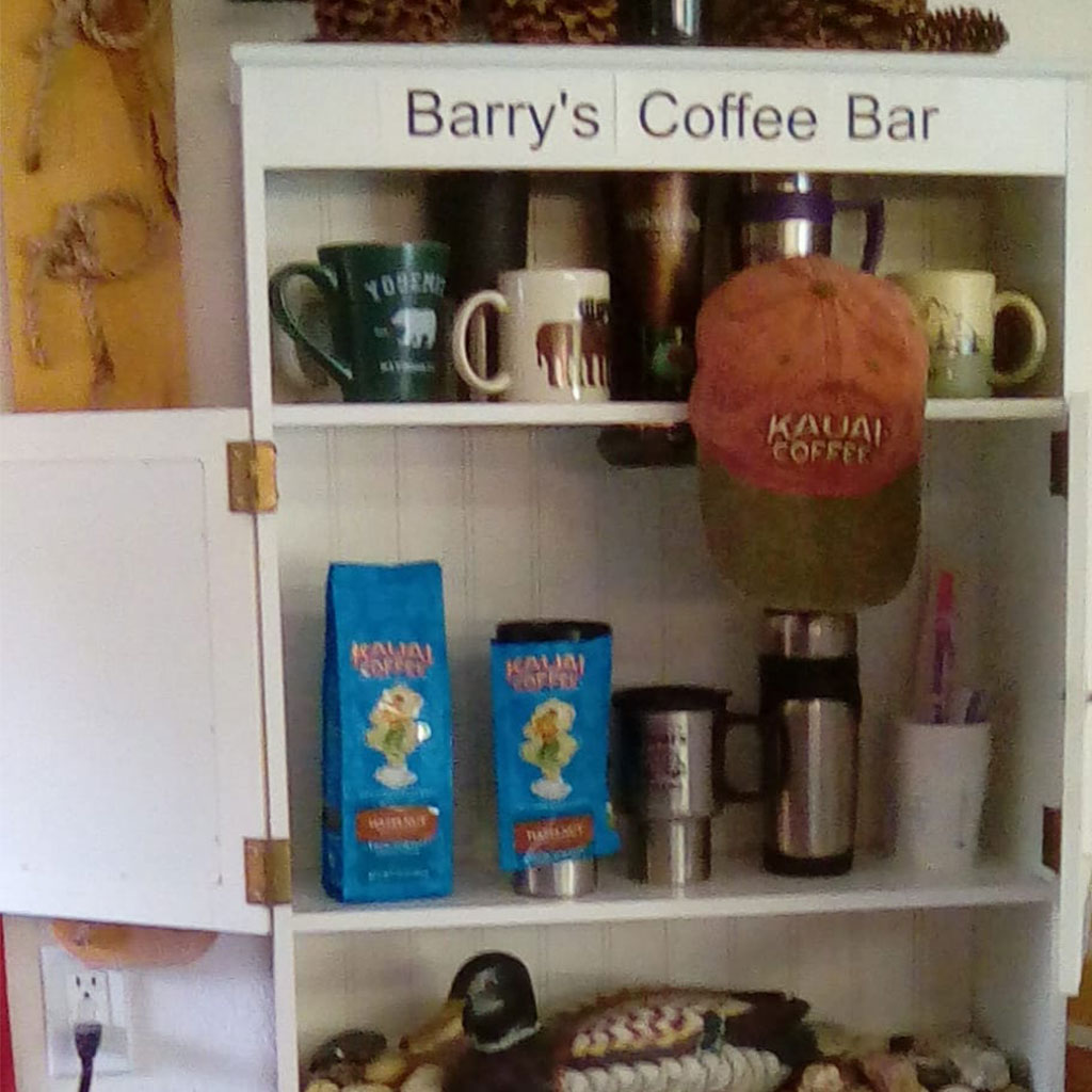 repurpose furniture into coffee bar at home