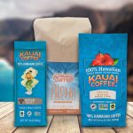 kauai coffee new packaging with the Fair Trade, Rainforest Alliance and Non GMO project seals