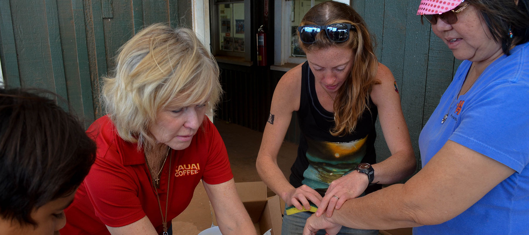 kauai coffee staff place temporary tattoos on each other during the Pau Harvest celebration