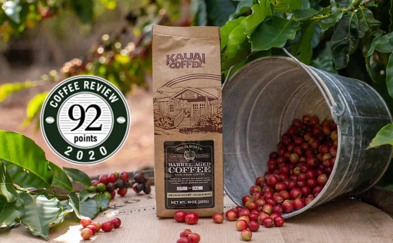 Rum Barrel Aged Kauai Coffee Receives 92-Point Score from Coffee Review