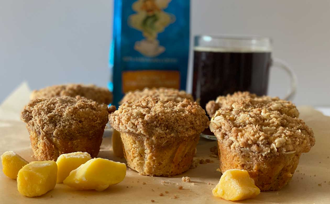 Paradise Mango Muffins with Coconut Crumb Topping