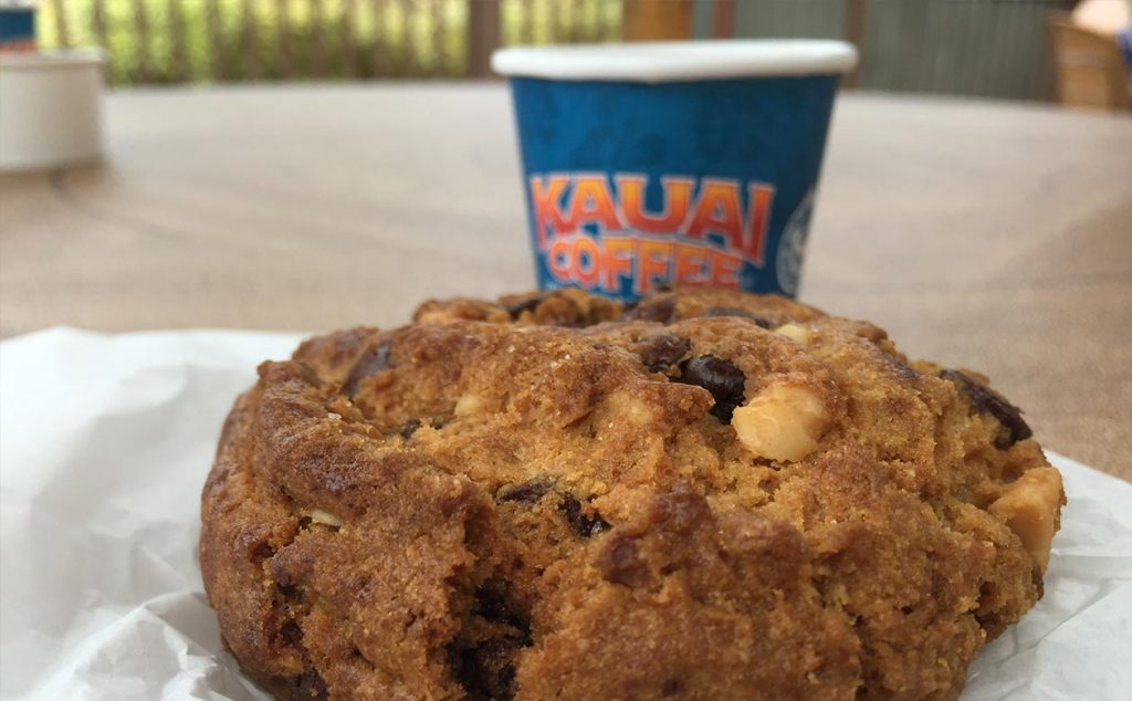 giant cookie and kauai coffee tasting cup