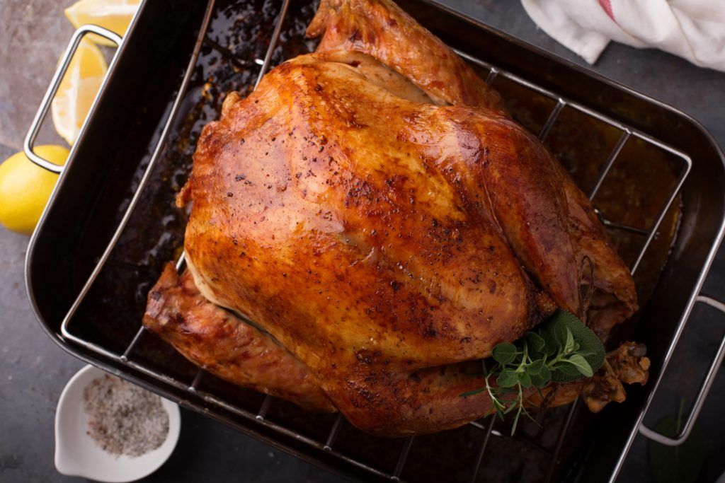 stock photograph of seasoned turkey in roasting pan