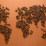 Coffee bean world map